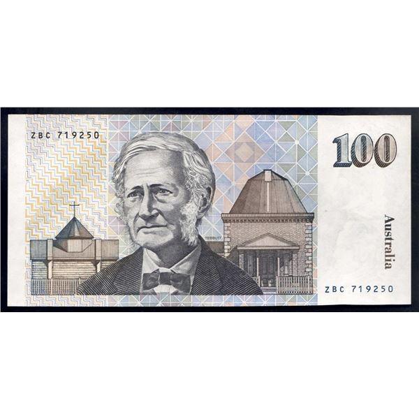 """AUSTRALIA $100. 1985. Johnston-Fraser. SCARCE 1ST PREFIX """"ZBC"""""""