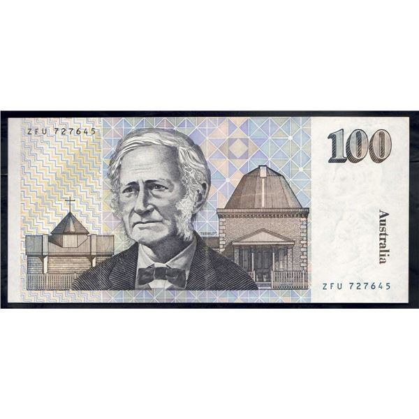 "AUSTRALIA $100. 1985. Johnston-Fraser. RARE LAST PREFIX ""ZFU"""