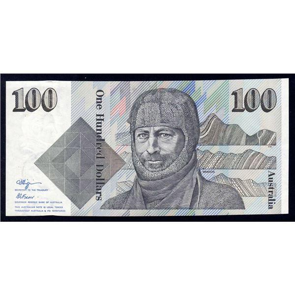 AUSTRALIA $100. 1990. Fraser-Higgins. SHORT ISSUE