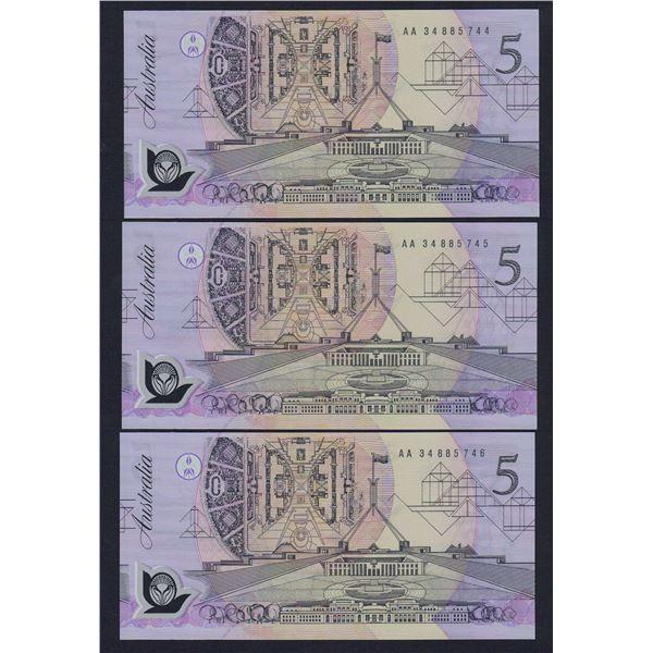 AUSTRALIA $5. 1992. Fraser-Cole. CONSECUTIVE TRIO