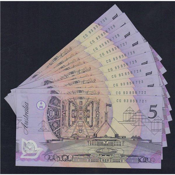 AUSTRALIA $5. 1993. Fraser-Evans. SCARCE CONSECUTIVE RUN OF 10