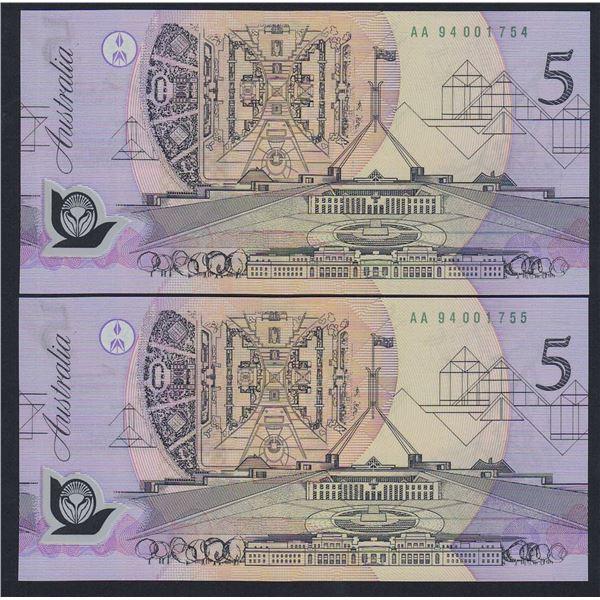 "AUSTRALIA $5. 1994. Fraser-Evans. Pale Green Serial. 1ST PREFIX ""AA94"" PAIR (Ex NPA)"