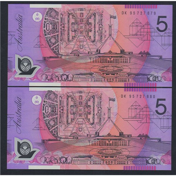 AUSTRALIA $5. 1995. Fraser-Evans. Recoloured Issue. WIDE BANDS CONSECUTIVE PAIR