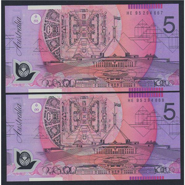 AUSTRALIA $5. 1995. Fraser-Evans. Narrow Bands. CONSECUTIVE PAIR