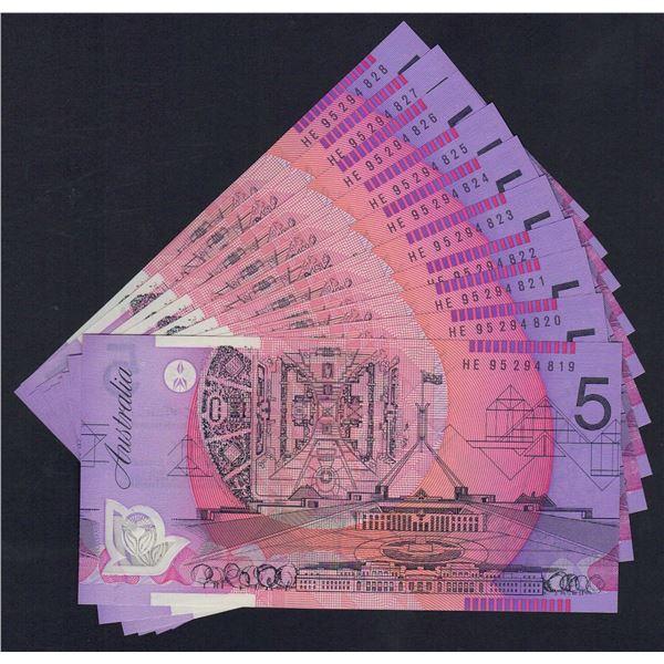 AUSTRALIA $5. 1995. Fraser-Evans. Narrow Bands. SCARCE CONSECUTIVE RUN OF 10