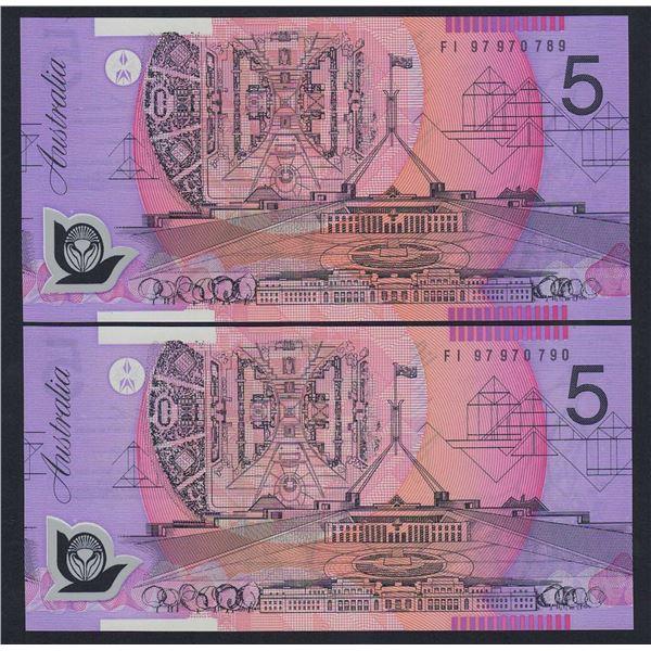 AUSTRALIA $5. 1997. Macfarlane-Evans. CONSECUTIVE PAIR
