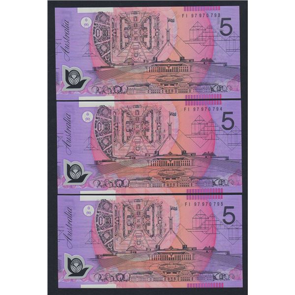 AUSTRALIA $5. 1997. Macfarlane-Evans. CONSECUTIVE TRIO