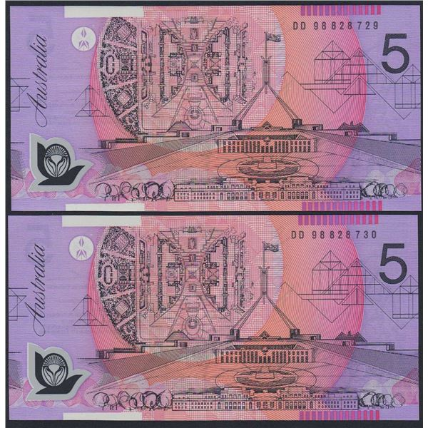 AUSTRALIA $5. 1998. Macfarlane-Evans. CONSECUTIVE PAIR
