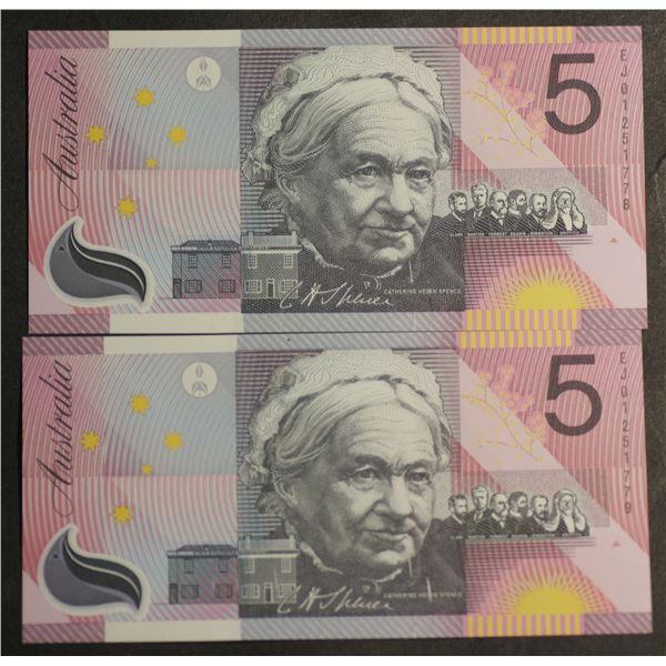 AUSTRALIA $5. 2001. Macfarlane-Evans. CENTENARY OF FEDERATION. UNDATED PAIR