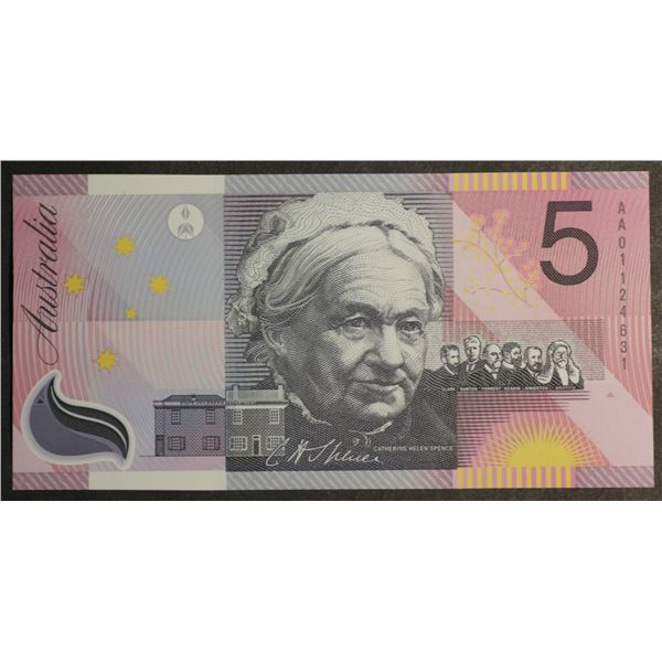 "AUSTRALIA $5. 2001. Macfarlane-Evans. Centenary of Federation. Undated. 1ST PREFIX ""AA01"""