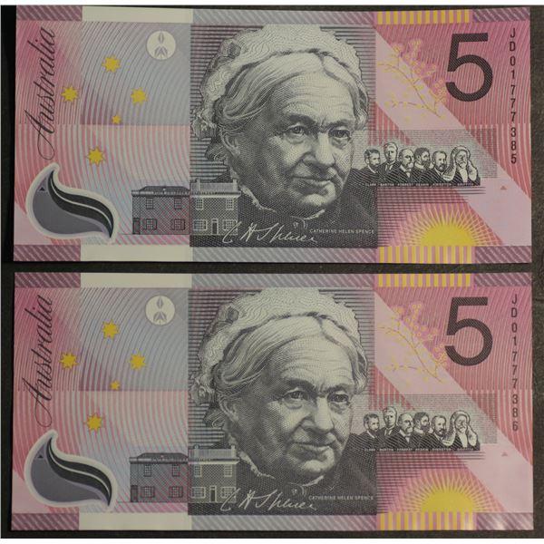 "AUSTRALIA $5. 2001. Macfarlane-Evans. Centenary of Federation. LAST PREFIX ""JD01"" PAIR"