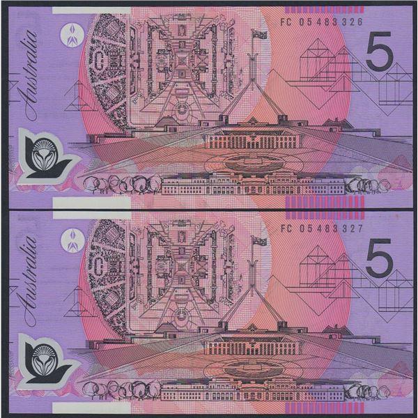 AUSTRALIA $5. 2005. Macfarlane-Henry. CONSECUTIVE PAIR