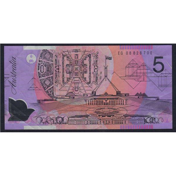"""AUSTRALIA $5. 2008. Stevens-Henry. ERROR - """"ALBINO PRINT"""" ON FRONT"""