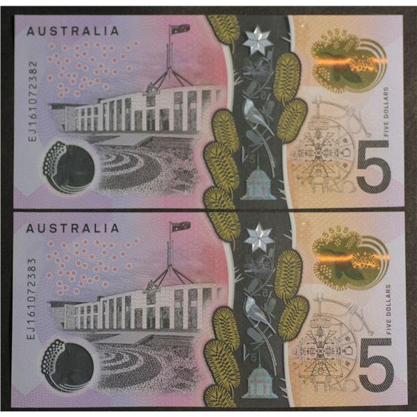 "AUSTRALIA $5. 2016. Stevens-Fraser. WATTLE. LAST PREFIX ""EJ16"" CONSECUTIVE PAIR"