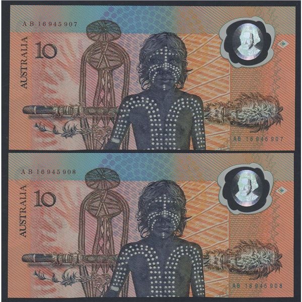 AUSTRALIA $10. 1988. Johnston-Fraser. Bicentennial. 1st Printing. CONSECUTIVE PAIR