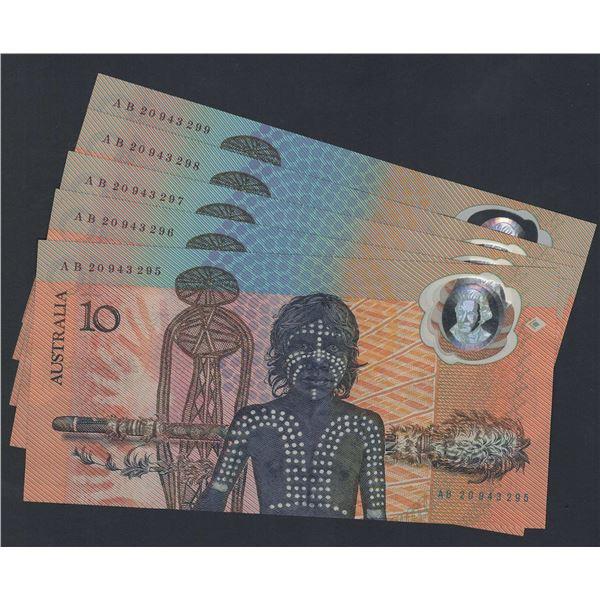 AUSTRALIA $10. 1988. Johnston-Fraser. Bicentennial. 1st Printing. CONSECUTIVE RUN OF 5