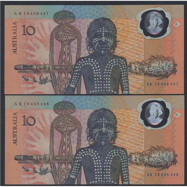 AUSTRALIA $10. 1988. Johnston-Fraser. Bicentennial. 2ND PRINTING. CONSECUTIVE PAIR