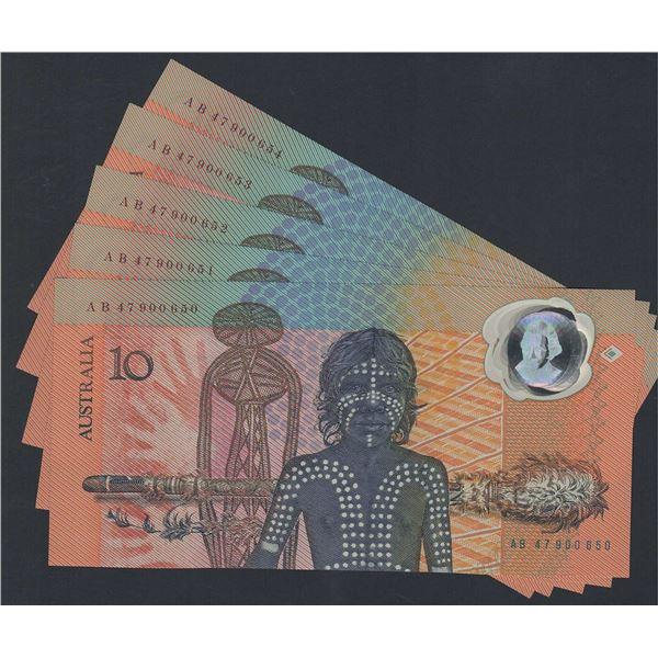AUSTRALIA $10. 1988. Johnston-Fraser. Bicentennial. 2nd Printing. CONSECUTIVE RUN OF 5