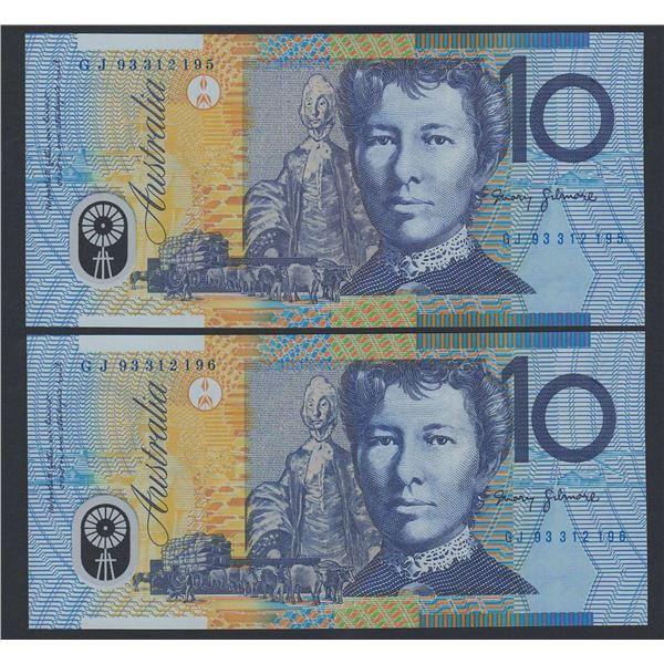 AUSTRALIA $10. 1993. Fraser-Evans. 1st Issue. Blue Dobell. CONSECUTIVE PAIR