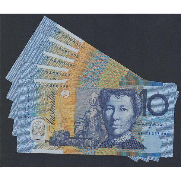 AUSTRALIA $10. 1993. Fraser-Evans. 1st Issue. Blue Dobell. CONSECUTIVE RUN OF 5