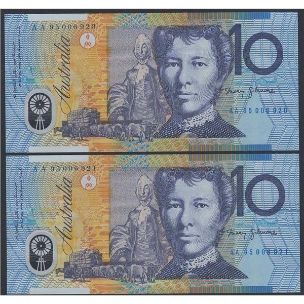 "AUSTRALIA $10. 1995. Fraser-Evans. 1ST PREFIX ""AA95"" CONSECUTIVE PAIR (Ex NPA)"