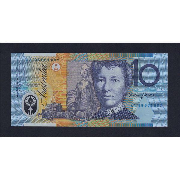 "AUSTRALIA $10. 1996. Fraser-Evans. SCARCE 1ST PREFIX ""AA96"" (Ex NPA)"