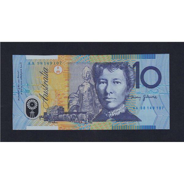 """AUSTRALIA $10. 1998. Macfarlane-Evans. 1ST PREFIX """"AA98"""""""
