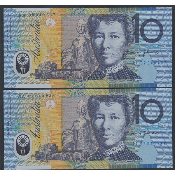 "AUSTRALIA $10. 2002. Macfarlane-Henry. 1ST PREFIX ""AA02"" CONSECUTIVE PAIR"