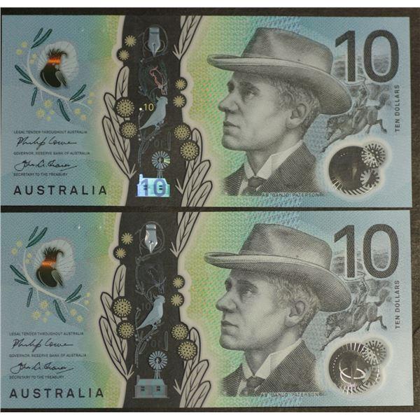 AUSTRALIA $10. 2017. Lowe-Fraser. WATTLE DESIGN. CONSECUTIVE PAIR