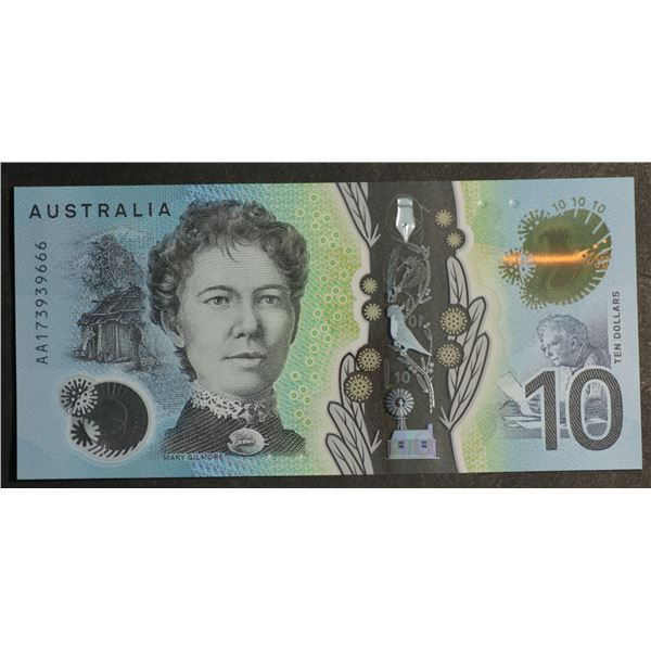 "AUSTRALIA $10. 2017. Lowe-Fraser. 1ST PREFIX ""AA17"" + DEVIL'S SERIAL NO ""666"""