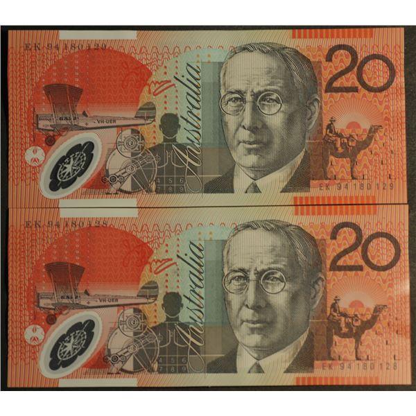 AUSTRALIA $20. 1994. Fraser-Evans. 1st Issue. CONSECUTIVE PAIR