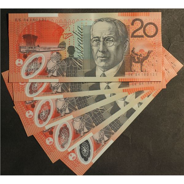 AUSTRALIA $20. 1994. Fraser-Evans. 1st Issue. CONSECUTIVE RUN OF 5