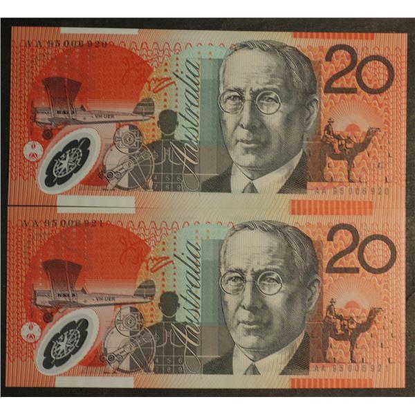 "AUSTRALIA $20. 1995. Fraser-Evans. 1ST PREFIX ""AA95"" CONSECUTIVE PAIR (Ex NPA)"