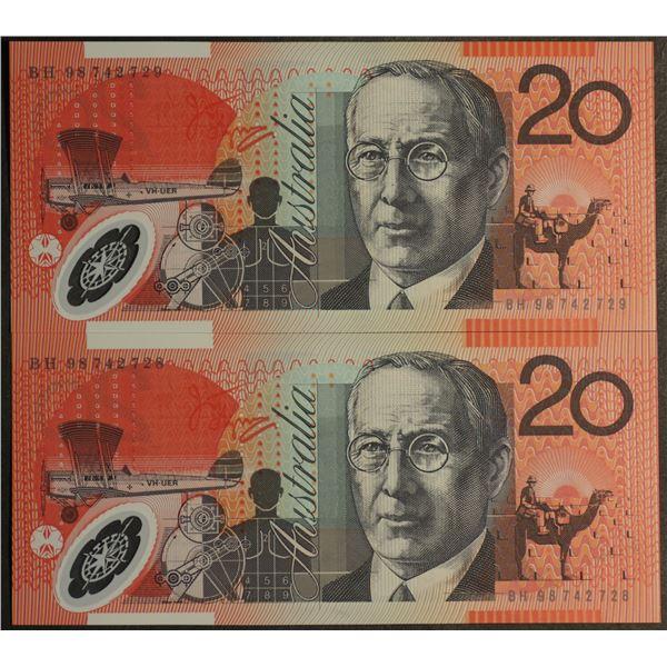 AUSTRALIA $20. 1998. Macfarlane-Evans. Scarce Date. CONSECUTIVE PAIR