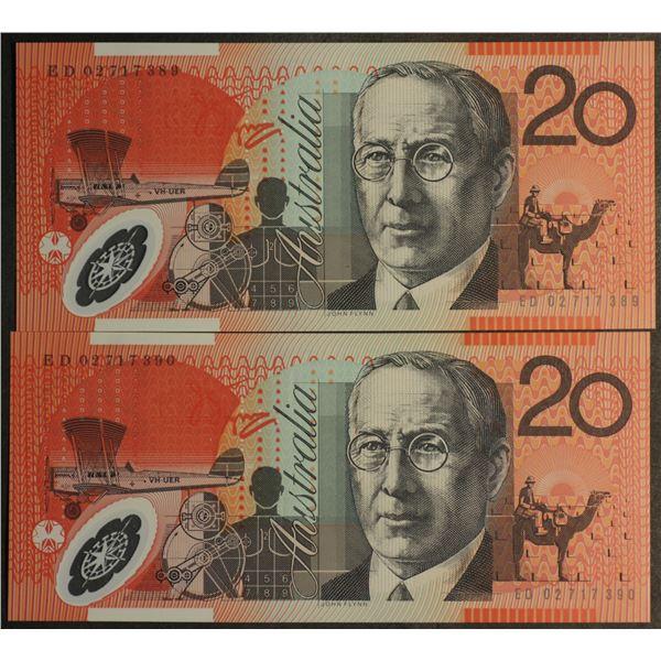 "AUSTRALIA $20. 2002. Macfarlane-Henry. NAME PREFIX ""ED"" CONSECUTIVE PAIR"