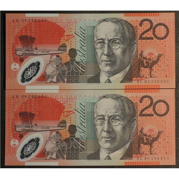 AUSTRALIA $20. 2008. Stevens-Henry. CONSECUTIVE PAIR