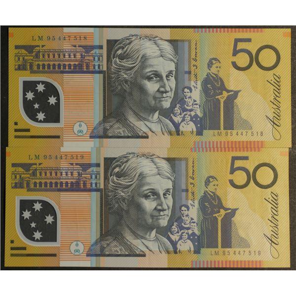 AUSTRALIA $50. 1995. Fraser-Evans. 1st Issue. CONSECUTIVE PAIR