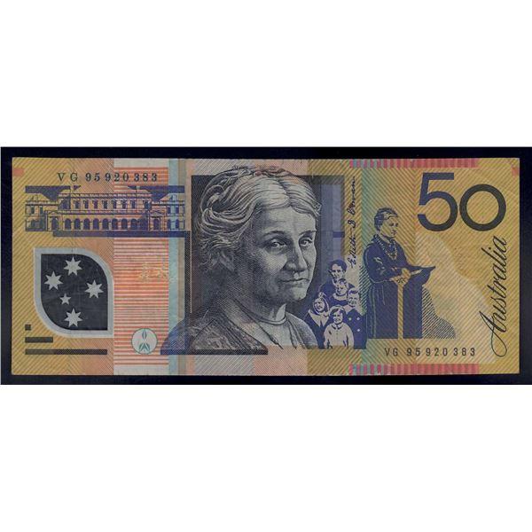 """AUSTRALIA $50. 1995. Fraser-Evans. 1st Issue. RARE LAST PREFIX """"VG95"""""""