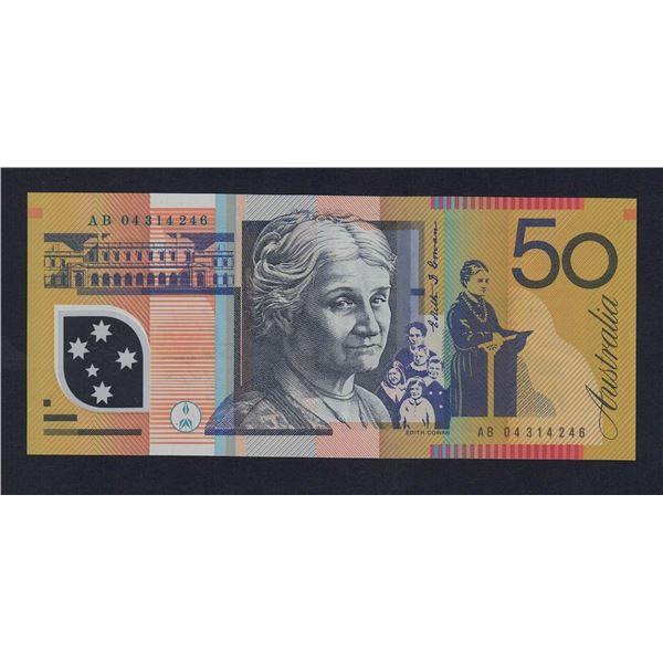 "AUSTRALIA $50. 2004. Macfarlane-Henry. WORD PREFIX ""AB"""