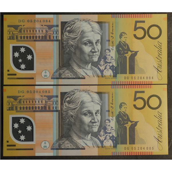 AUSTRALIA $50. 2005. Macfarlane-Henry. CONSECUTIVE PAIR