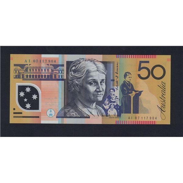 AUSTRALIA $50. 2007. Stevens-Henry. 1ST DATE FOR SIGNATURE