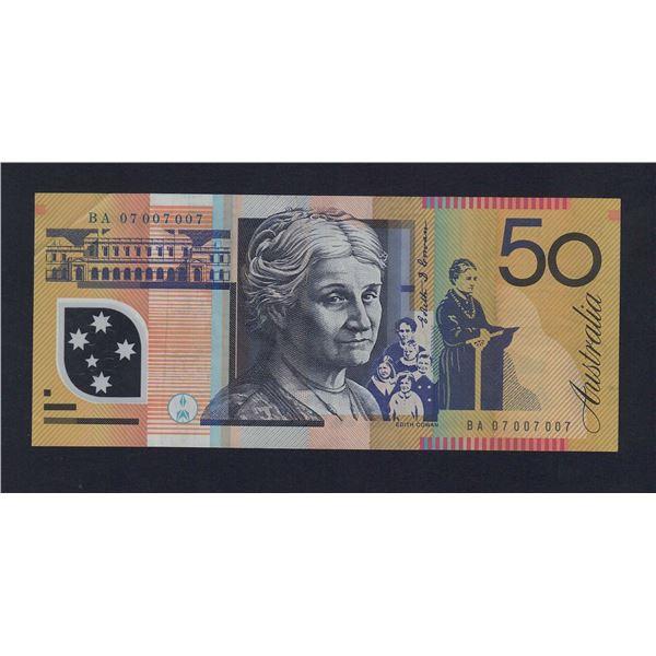 "AUSTRALIA $50. 2007. Stevens-Henry. UNUSUAL REPEATER PREFIX/SERIAL NO ""07 007007"""
