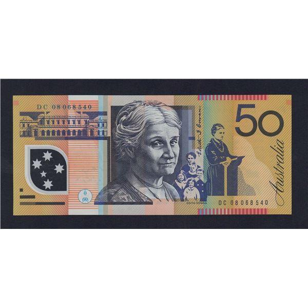 """AUSTRALIA $50. 2008. Stevens-Henry. WORD PREFIX """"DC"""""""