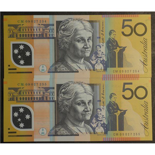 AUSTRALIA $50. 2009. Stevens-Henry. CONSECUTIVE PAIR
