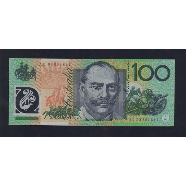 "AUSTRALIA $100. 1996. Fraser-Evans. SCARCE TEST NOTE Prefix ""AO"""