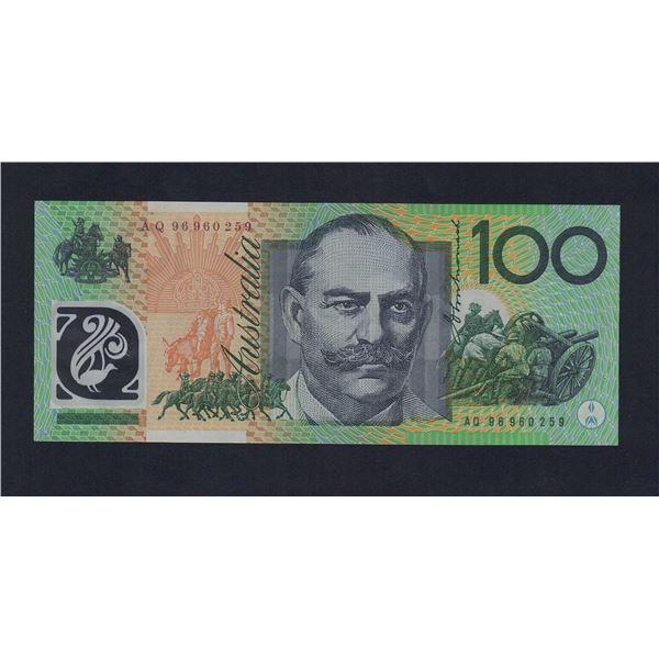 "AUSTRALIA $100. 1996. Fraser-Evans. SCARCE TEST NOTE Prefix ""AQ"""