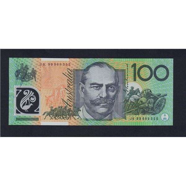 "AUSTRALIA $100. 1999. Macfarlane-Evans. SCARCE LAST PREFIX ""JK99"""