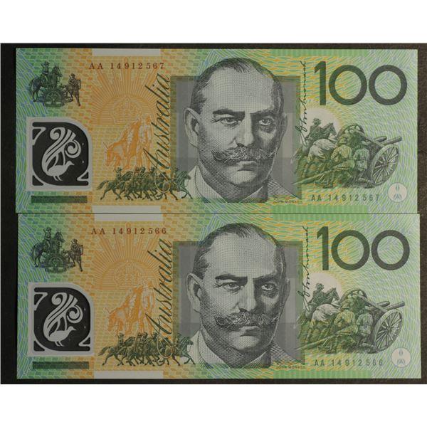 "AUSTRALIA $100. 2014. Stevens-Parkinson. SCARCE 1ST PREFIX ""AA14"" CONSECUTIVE PAIR"