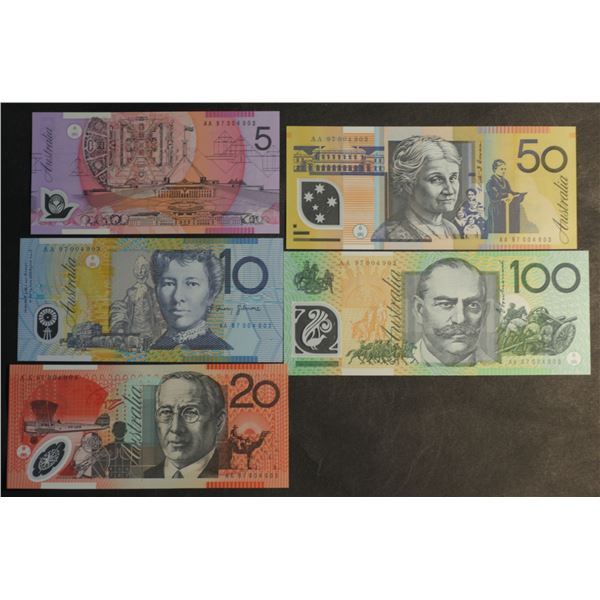 "AUSTRALIA $5 to $100. 1997. Macfarlane-Evans. 1ST PREFIX ""AA97"" - MATCHED NO SET OF 5"