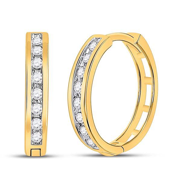 Round Diamond Hoop Earrings 1/5 Cttw 10KT Yellow Gold